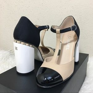 Chanel Mary Jane Cap Toe Pumps Size 38.5
